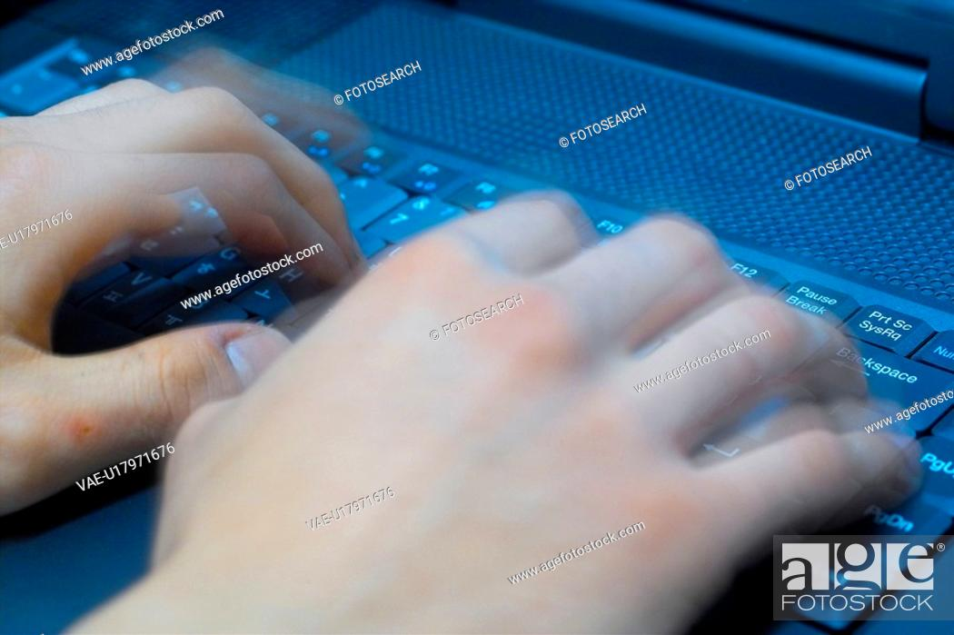 Stock Photo: keyboard, person, people, object, computer.