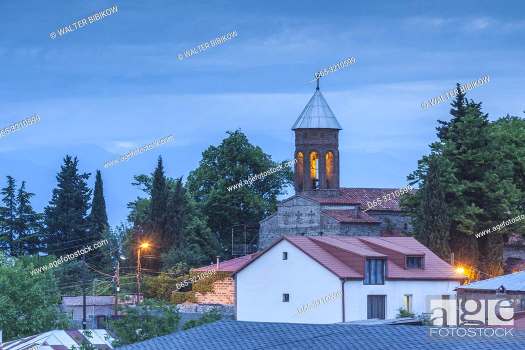 Stock Photo: Georgia, Kakheti Area, Telavi, hilltop church, dusk.