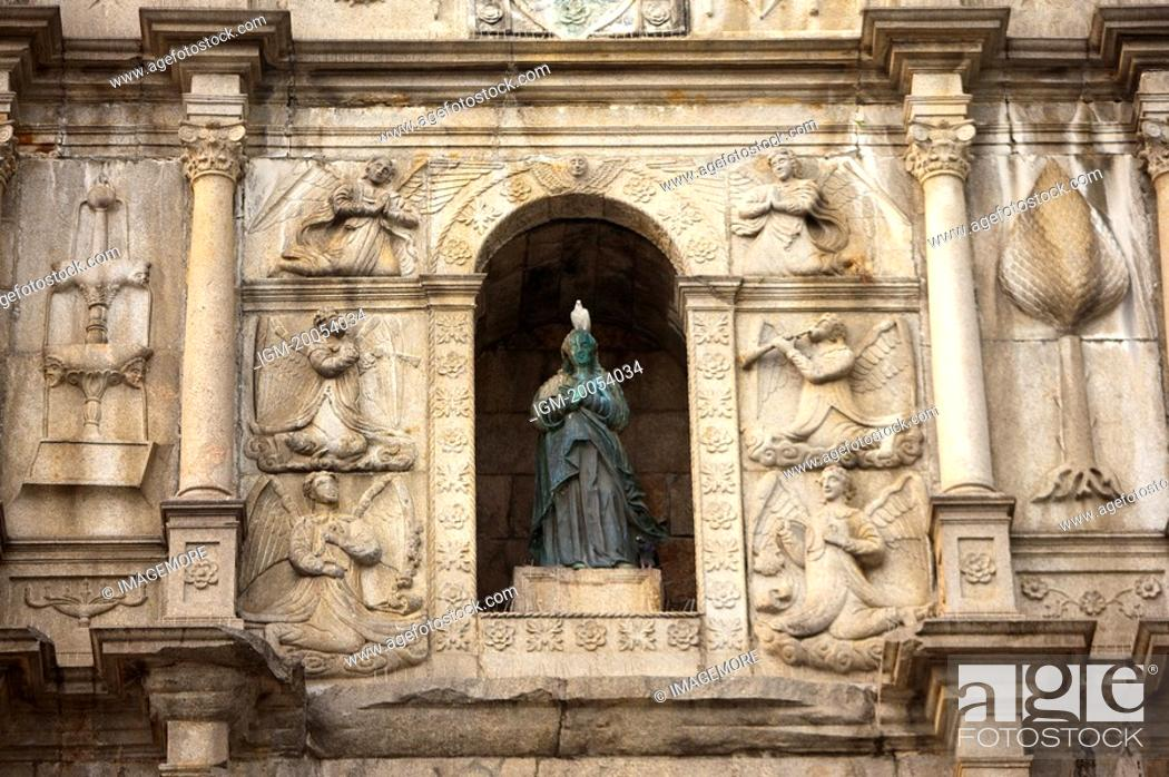 Stock Photo: China, Macou, Ruins of Saint Paul's, UNESCO, World Cultural Heritage.