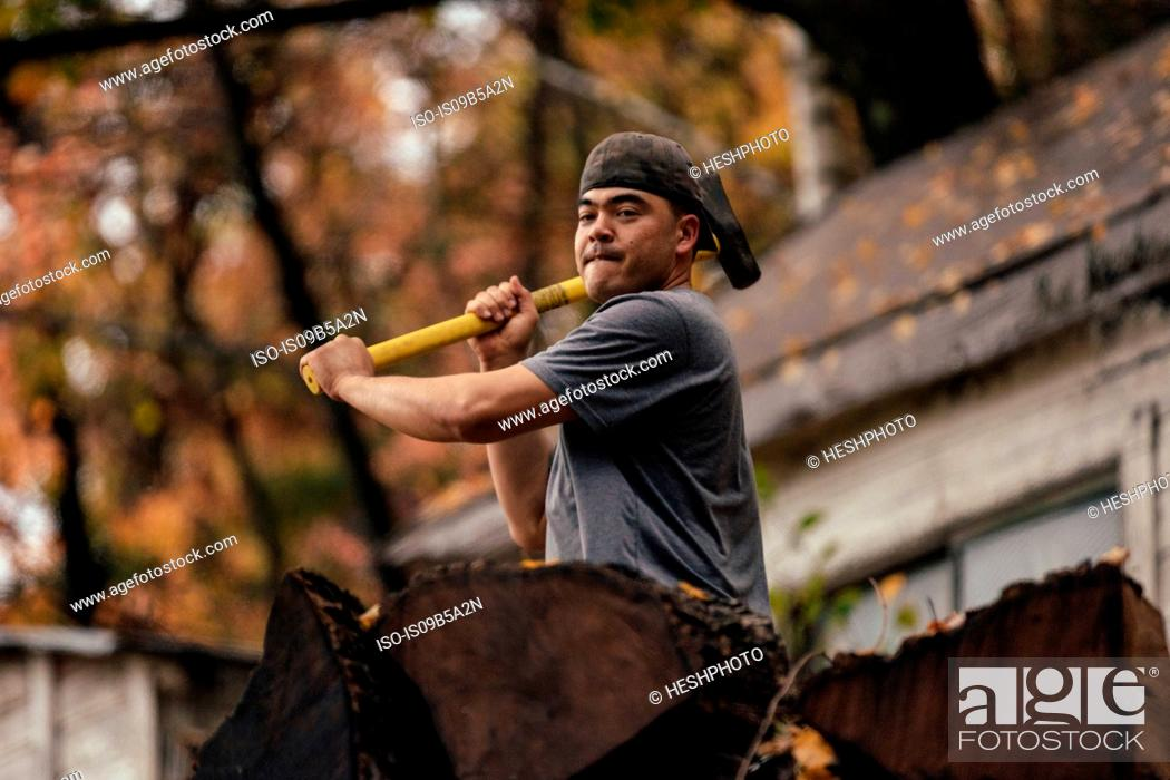 Stock Photo: Mid adult man chopping logs in autumn forest, Upstate New York, USA.