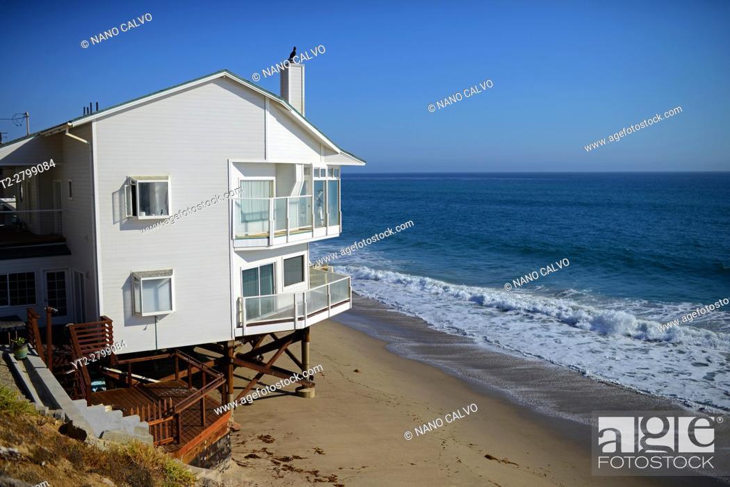 Stock Photo: Beach front homes along Pacific Coast Highway in Malibu, California.