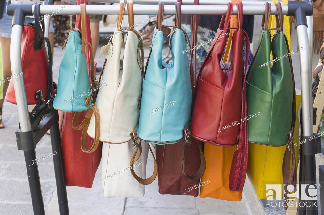 Stock Photo: Colorful leather handbags for sale Lecce Italy.