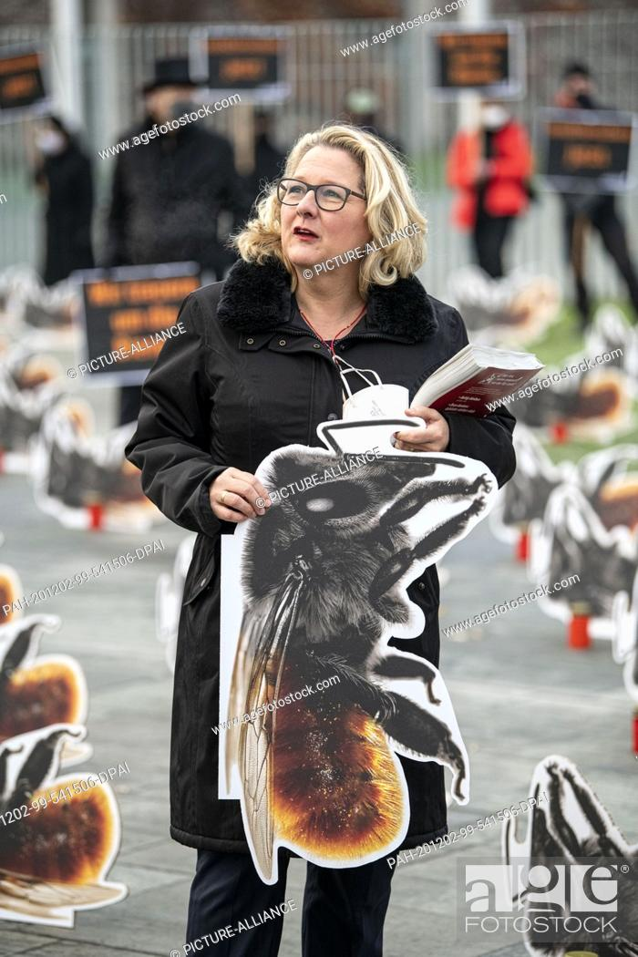 Imagen: 02 December 2020, Berlin: Svenja Schulze (SPD), Federal Minister of the Environment, holds the cardboard display of a red wall bee at the protest action.