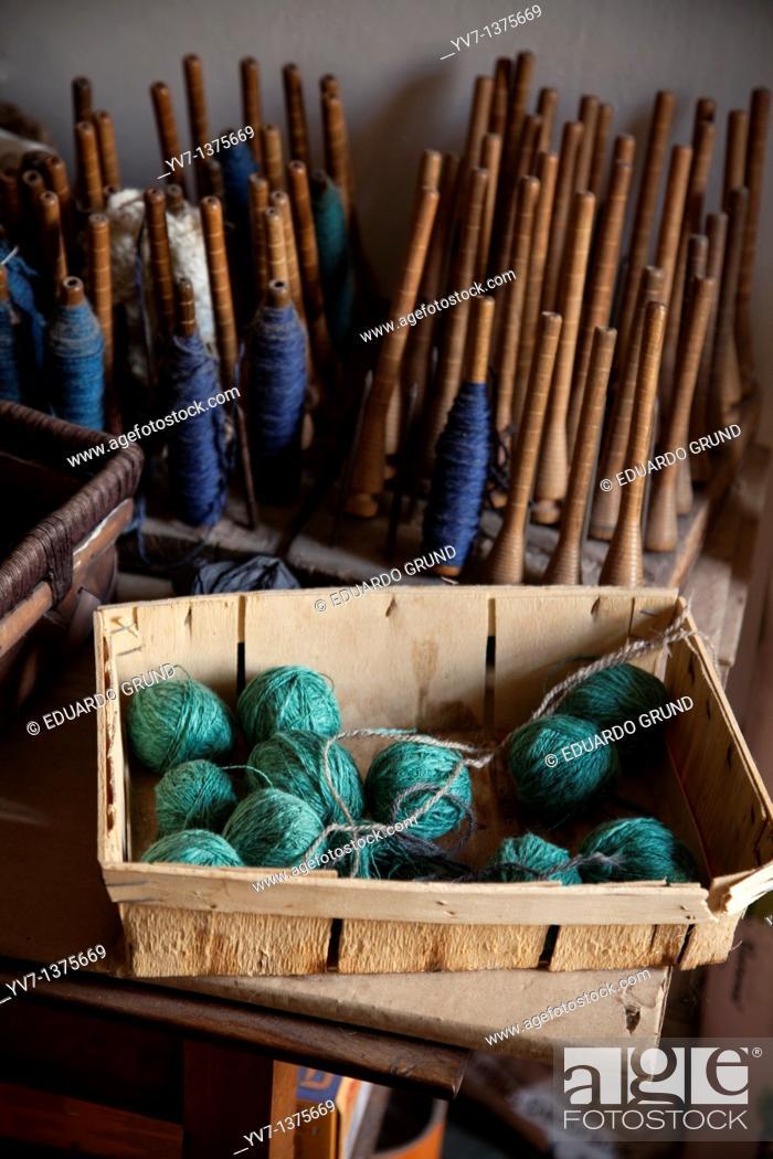 Stock Photo: Useful and balls of wool on a loom of the Alpujarra Bubión Alpujarras, Granada, Andalusia, Spain.