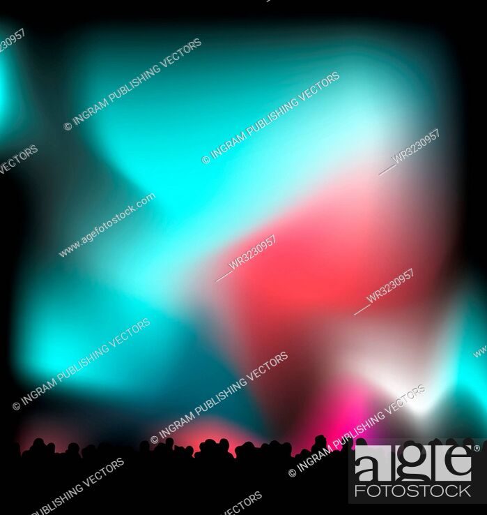 Vector: Concert light with the crowd in black silhouette with nights sky.