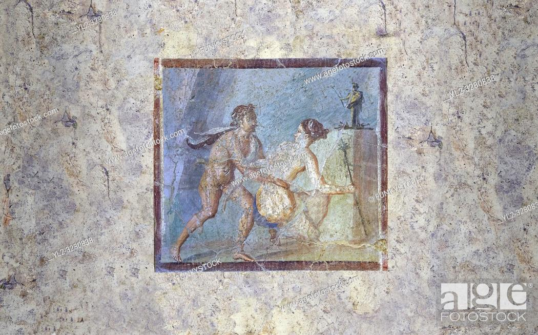 Stock Photo: Roman Erotic Fresco from Pompeii depicting a Satyr surprising a maiden, Naples National Archaeological Museum - 50-79 AD , inv no 27693 ,.