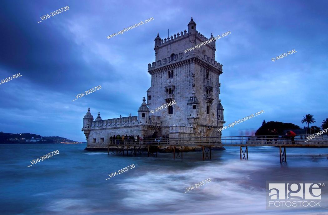 Stock Photo: Portugal. Lisbon. Belem. Torre de Belem (Heritage) on the bank of the river Tagus. Manueline style building . Francisco de Arruda.