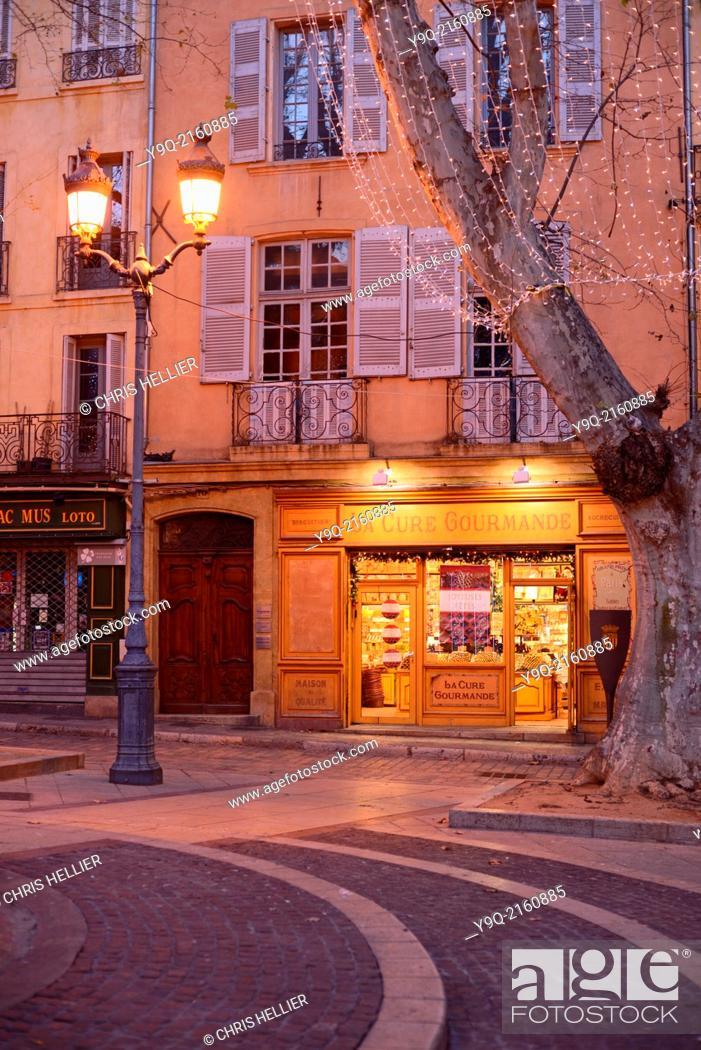 Stock Photo: Sweet Shop or Patisserie on Town Square Place de la Mairie Aix-en-Provence Provence France.