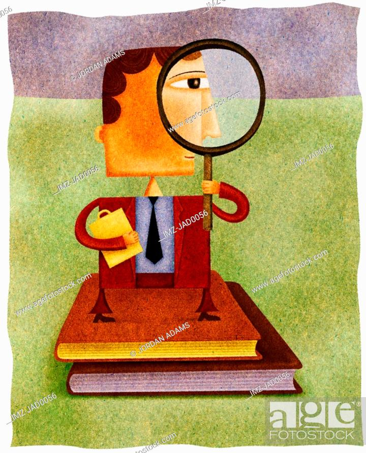 Stock Photo: A businessman standing on two books and looking through a magnifying glass.