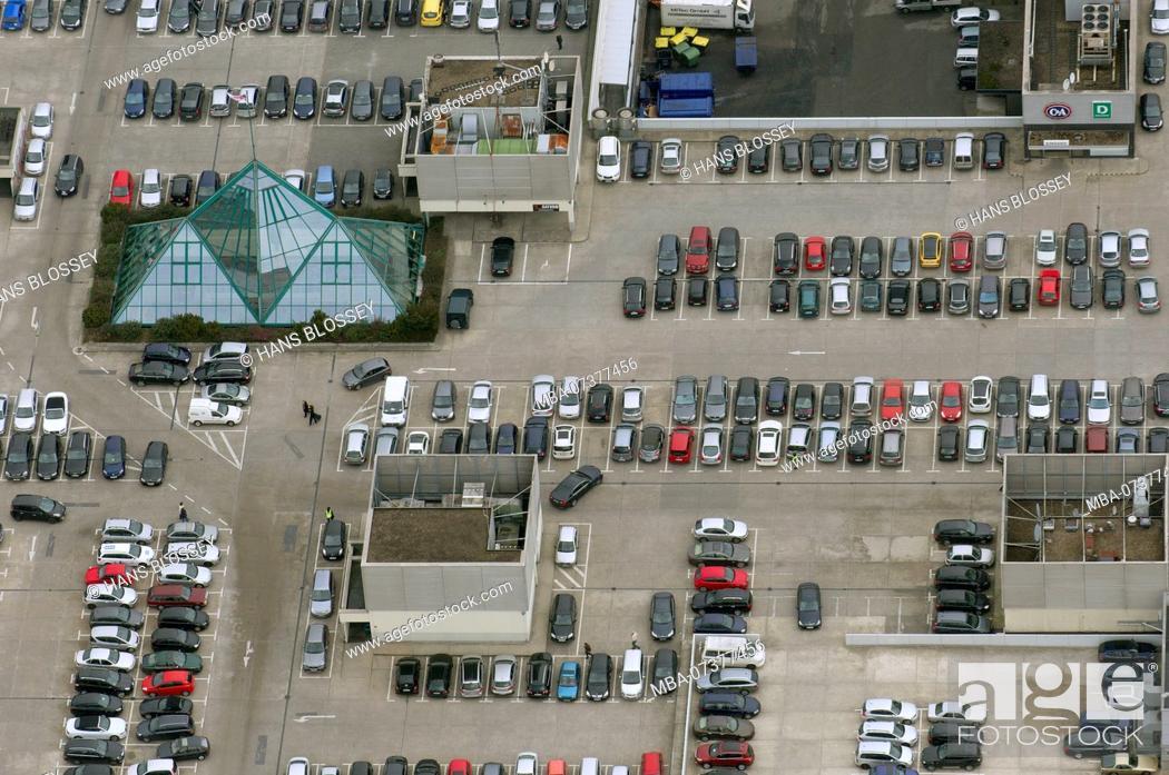 Stock Photo: Aerial view, Rhein-Ruhr-Center at the A40, roof parking lot, parking space, Mülheim an der Ruhr, Ruhr area, North Rhine-Westphalia, Germany, Europe.