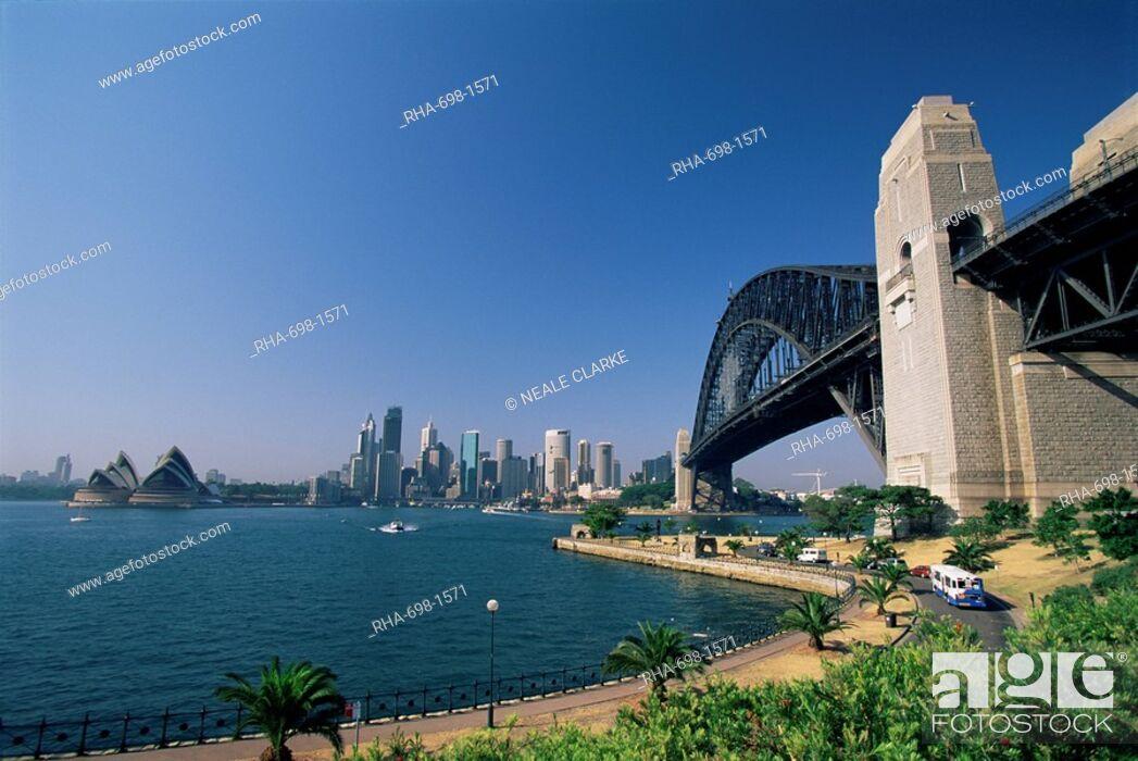 Stock Photo: Sydney Harbour Bridge and skyline, Sydney, New South Wales, Australia, Pacific.