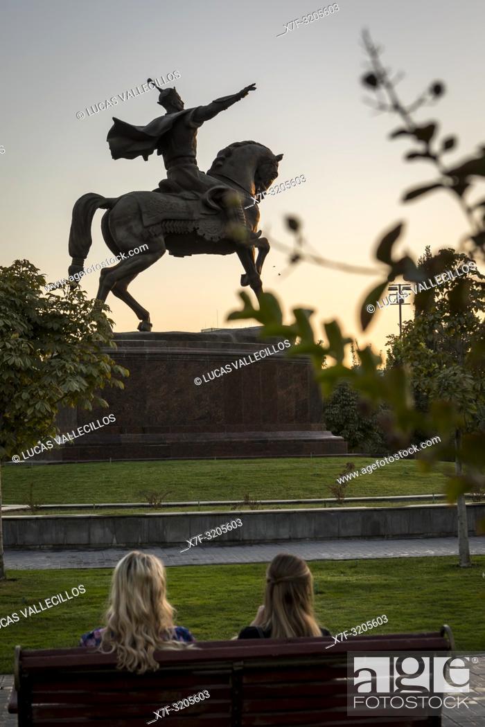 Stock Photo: Amir Timur statue, in Amir Timur square, Tashkent, Uzbekistan.
