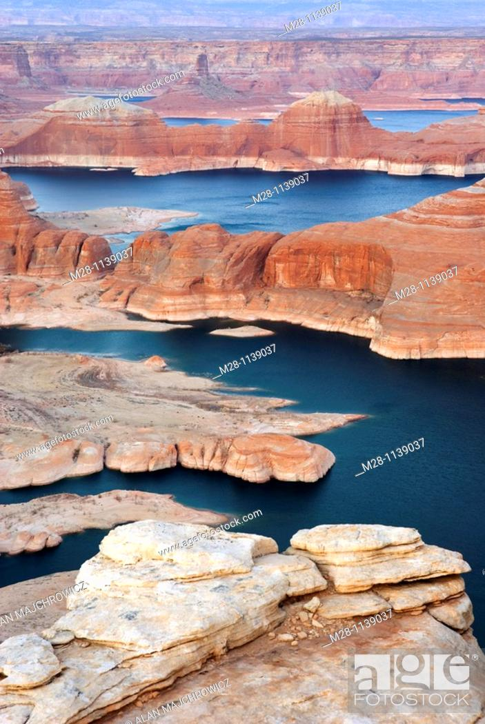 Stock Photo: Dusk over Padre Bay and Lake Powell from Alstrom Point, Glen Canyon National Recreation Area Utah.