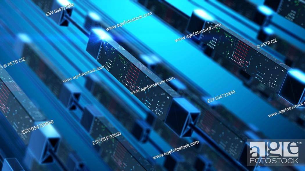 Stock Photo: Data transfer in virtual space. Technology abstract background concept.