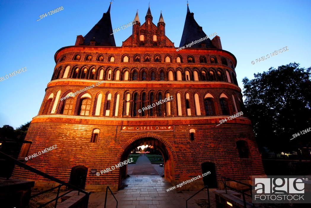Stock Photo: Holstentor door in Lübeck, Schleswig-Holstein, Germany.