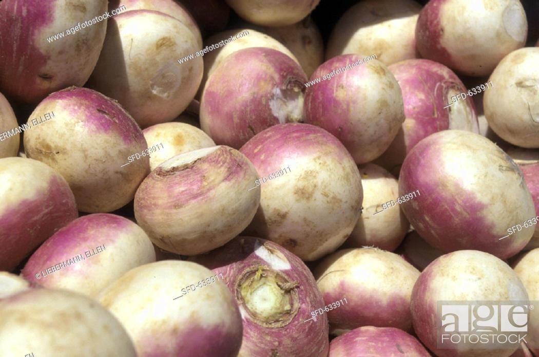 Stock Photo: Turnips at the Market.
