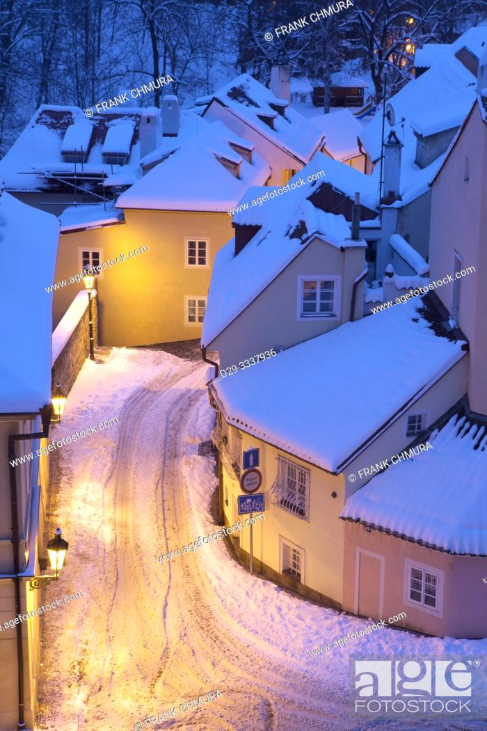 Stock Photo: Czech Republic, Prague - Picturesque Quarters New World in Winter.
