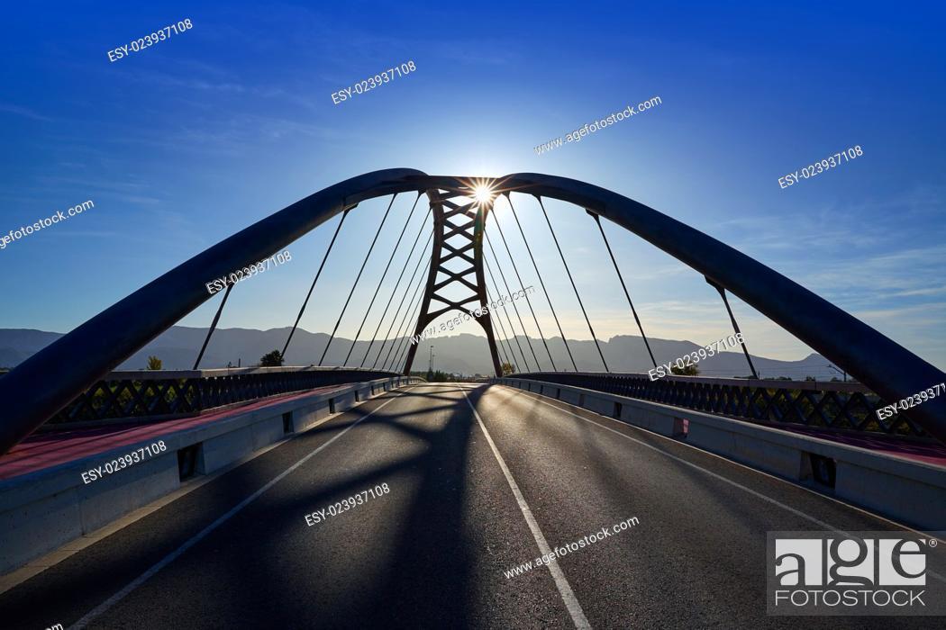 Photo de stock: Cullera bridge over Xuquer Jucar river of Valencia at Spain.