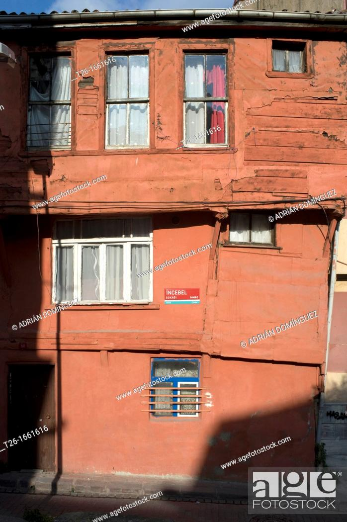 Stock Photo: Detail of a red house. City of Istanbul, Turkey.