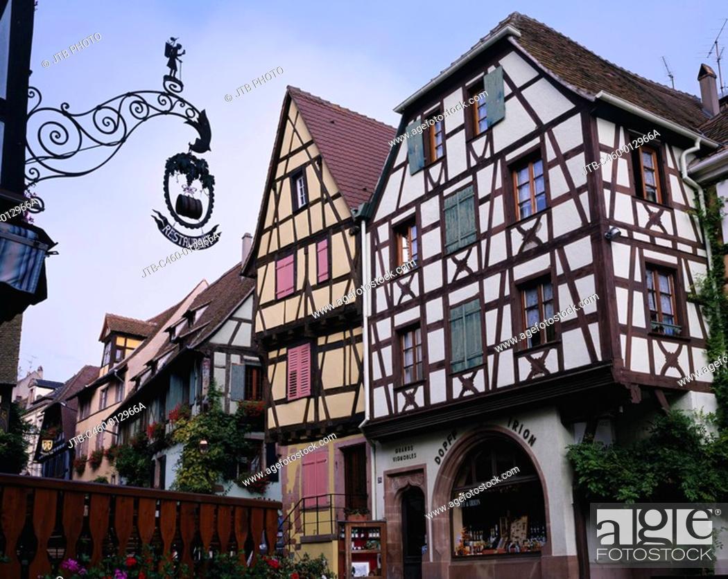 Stock Photo: Street corner, Riquewihr, Alsace, France.