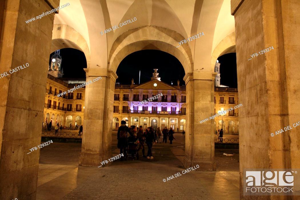 Stock Photo: Plaza de España, Old Town, Vitoria, Alaba, Basque Country, Spain.