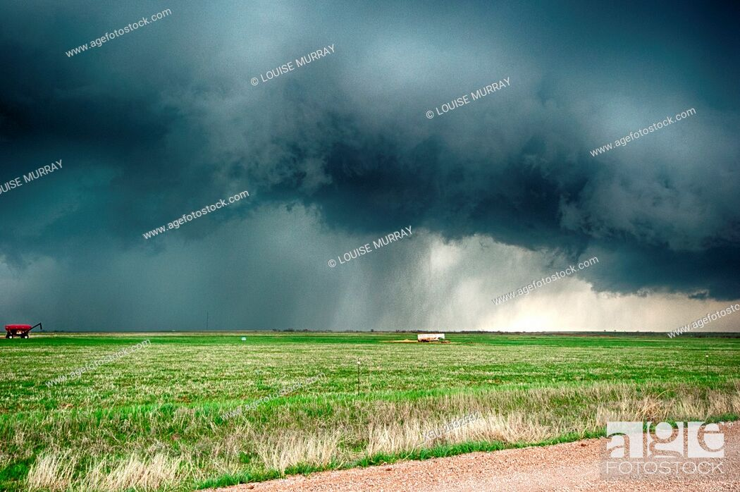 Stock Photo: Supercell thunderstorm turns the four o'clock sunshine to darkness on April 17 2013 in the centre of Lawton, Oklahoma THis storm covered 1000 square miles at.