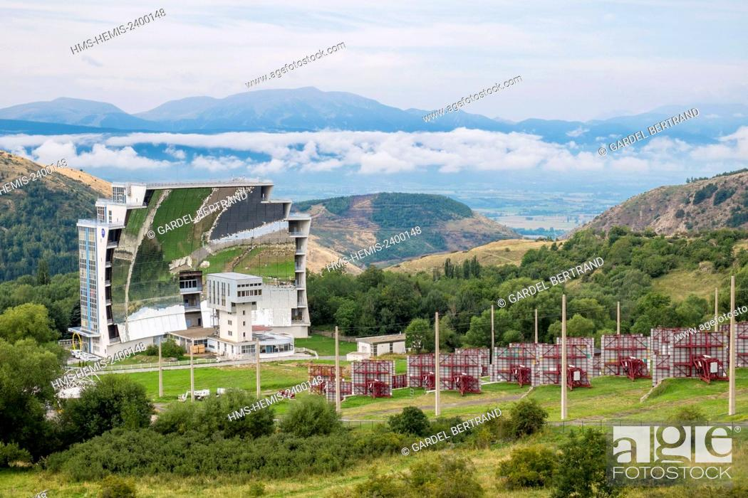 Stock Photo: France, Pyrenees Orientales, region of Cerdanya, natural regional park of the Catalan Pyrenees, Odeillo, The solar oven.