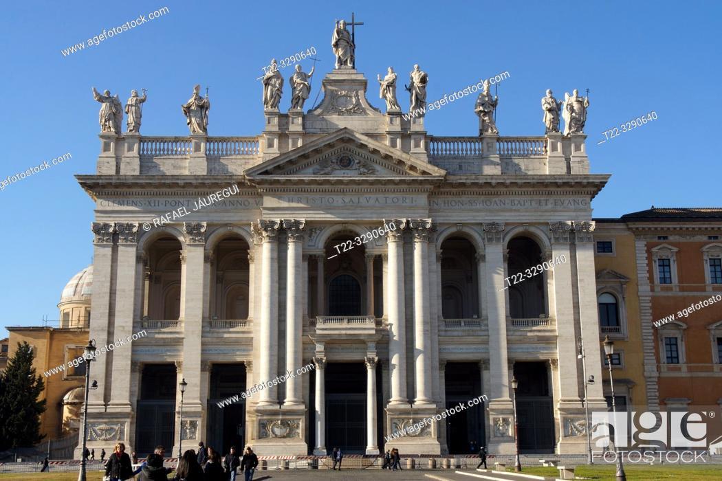 Stock Photo: Rome (Italy). Facade of the Archbasilica of San Juan de Letran in the city of Rome.
