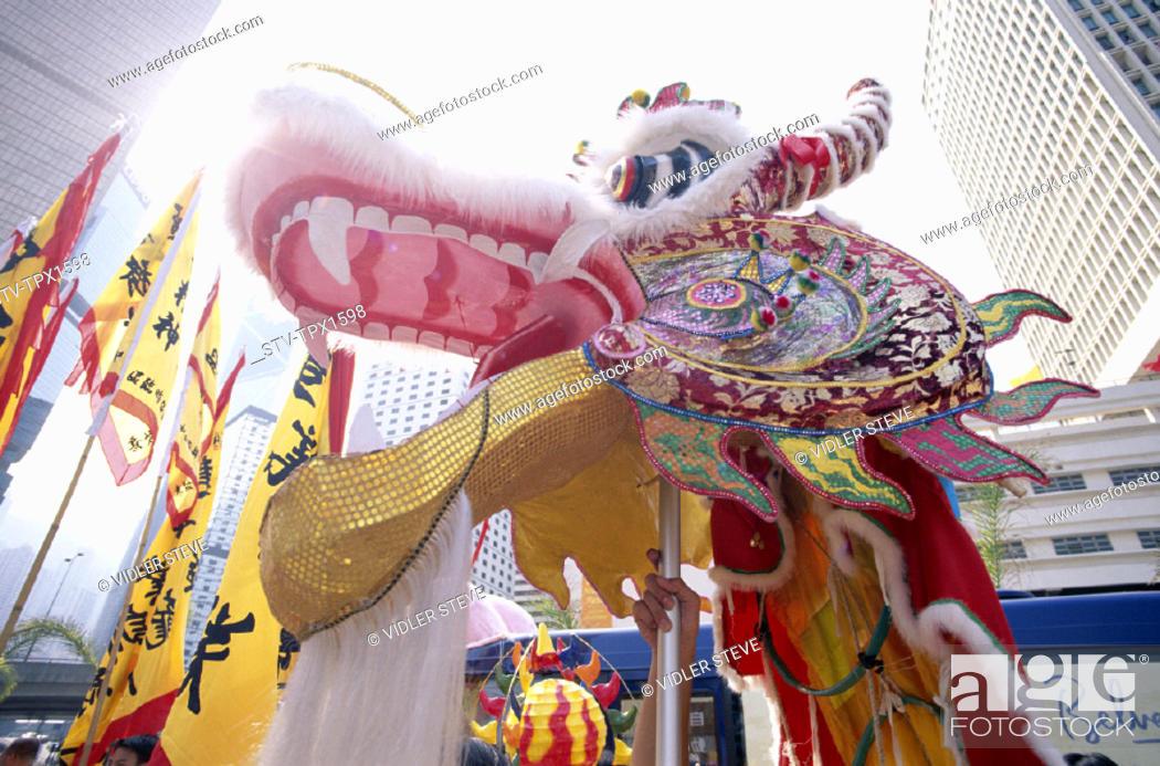 Stock Photo: Asia, China, Chinese new year, Dragon dance, Holiday, Hong kong, Hongkong, Landmark, Tourism, Travel, Vacation,.