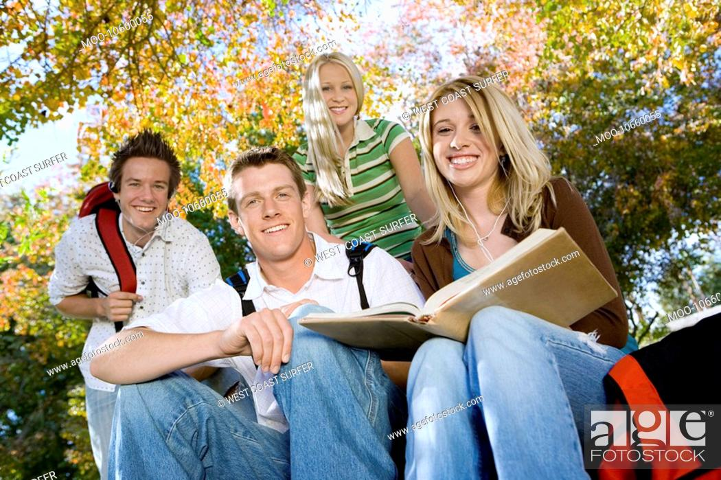 Stock Photo: Students studying outdoors portrait.