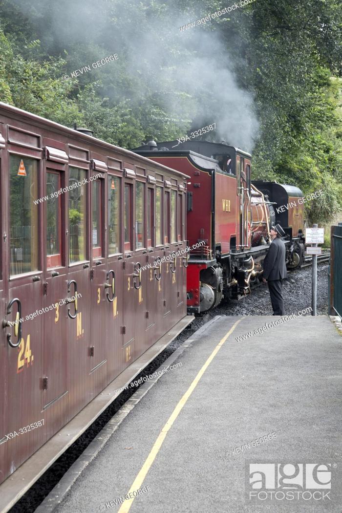 Stock Photo: Steam Train at Caernarfon on Festinioc and Welsh Highland Railway; Wales, UK.