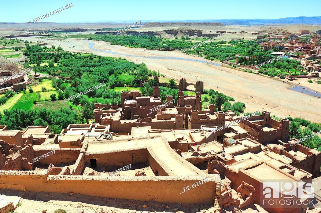 Stock Photo: The river Ounila. Aït Benhaddou Ksar. World Heritage. Ouarzazate province, Morocco.