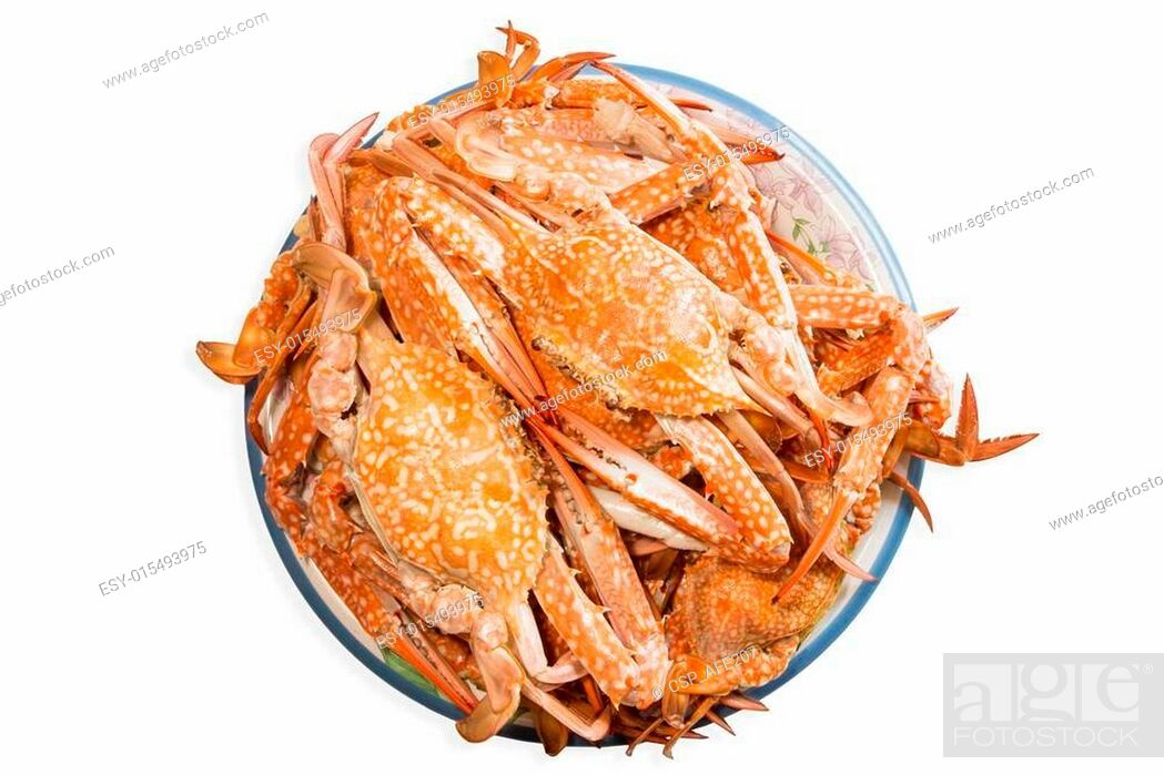 Stock Photo: steamed crab boiled seafood.