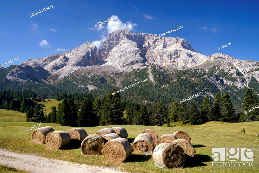 Stock Photo: Europe, Italy, South Tirol, Pragser Dolomiten / Dolomiti di Braies (mountains), Plätzwiese, Hohe Gaisl, (mountain), 3146 m, hay bales.