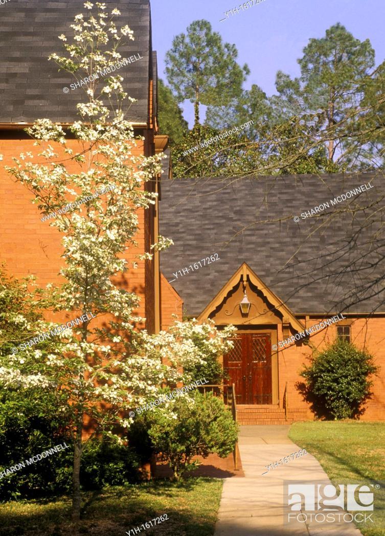 Stock Photo: Calvary Episcopal church, Red clay bricks, Americus GA.