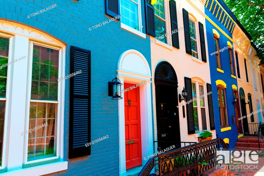 Stock Photo: Georgetown historical district townhouses facades Washington DC in USA.