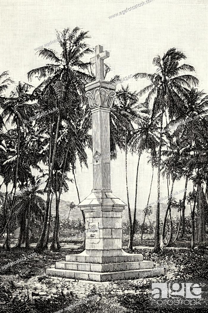 Photo de stock: Cross Christopher Columbus monument designed by Lieutenant Colonel Juan Melendez, Parque Colon. Puerto Rico. Old XIX century engraved illustration from La.