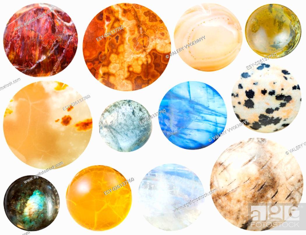Stock Photo: natural stones - jasper, fire opal, marble onyx, labradorite, selenite, sunstone, tourmaline, moonstone, adularia, aplite, dalmatian, aquamarine.