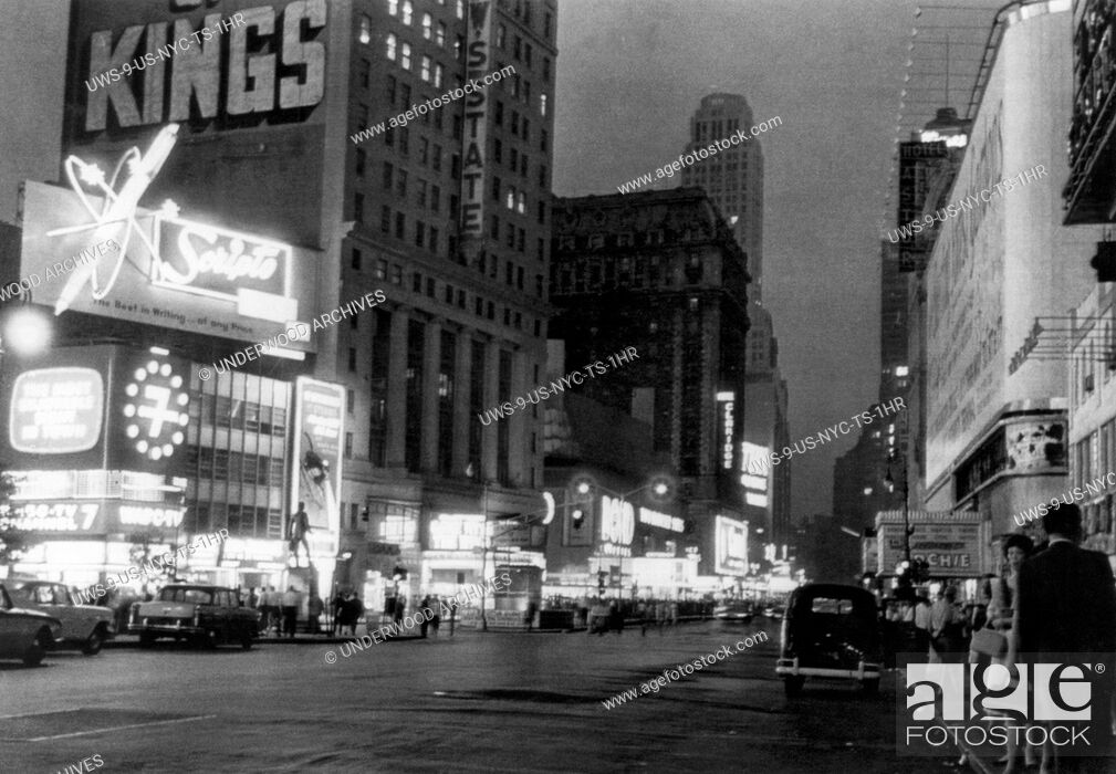 Stock Photo: New York, New York: June 13, 1961. New York City's Great White Way is only half lighted in this view of Broadway during a massive power outage in midtown.