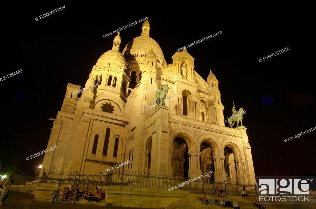 Stock Photo: Basilica of the Sacred Heart of Jesus of Paris at sunset Montmartre, - Sacré-Cœur Basilica.