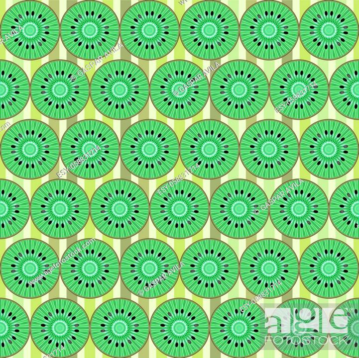 Stock Vector: Sliced kiwi fruits pattern. Graphic design pattern.
