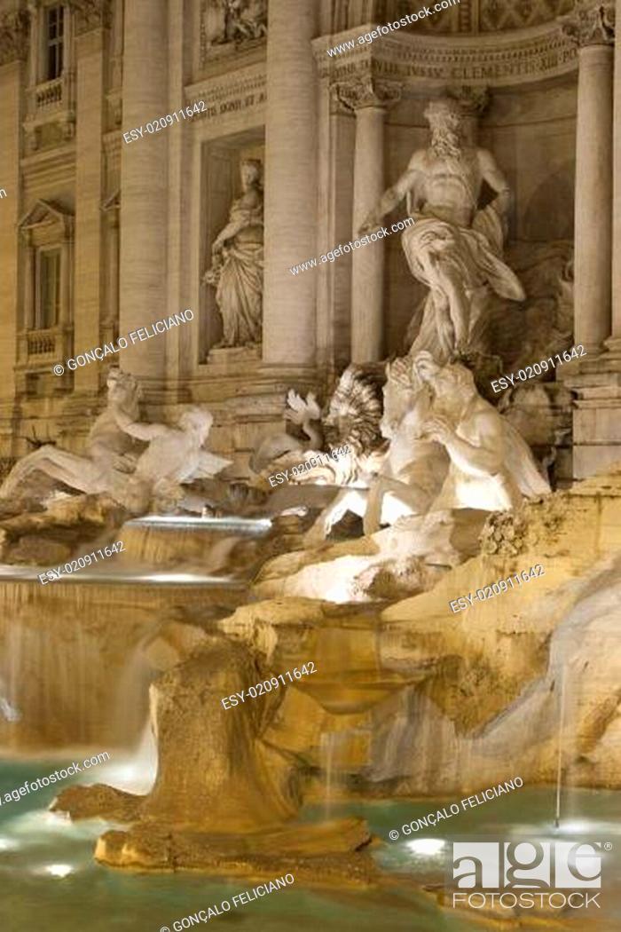 Stock Photo: Trevi fountain at night.
