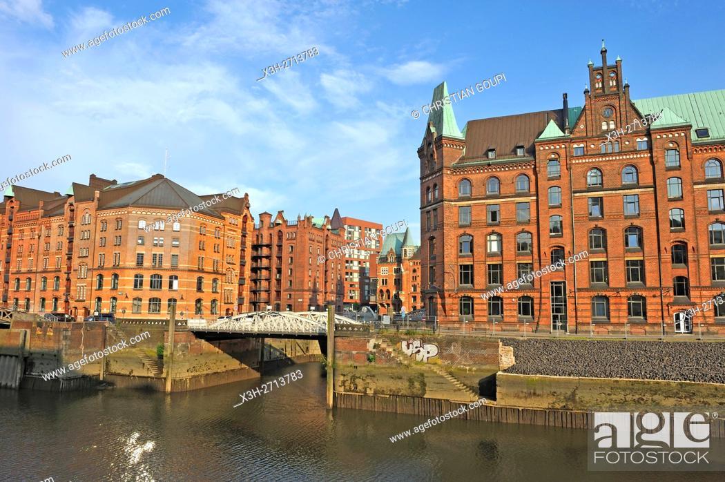 Stock Photo: remarkable building of Block P on the edge of Zollkanal in the Speicherstadt (City of Warehouses), HafenCity quarter, Hamburg, Germany, Europe.