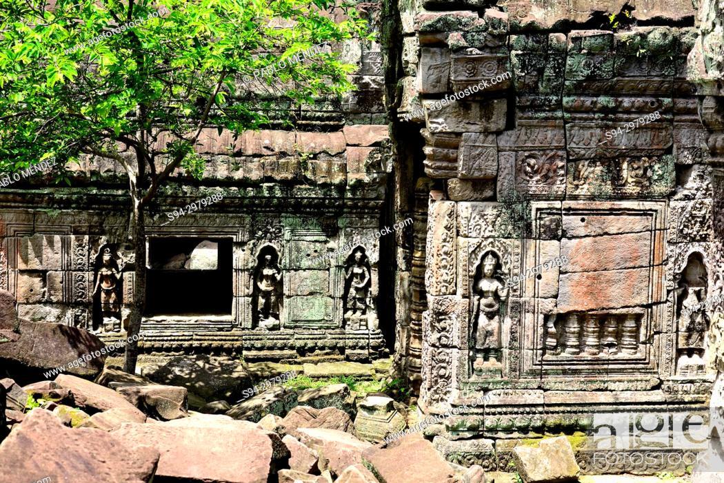 Imagen: Relieves in Preah Khan temple, Angkor area, Siem Reap, Cambodia.