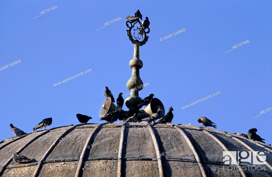Stock Photo: Pigeons on the dome of a mosque, Izmir, Turkey.