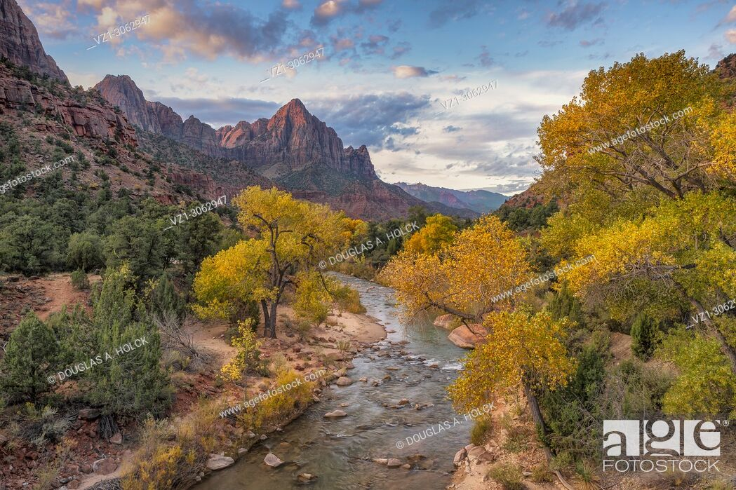 Stock Photo: Watchman at Sunrise in fall at Zion National Park Utah.