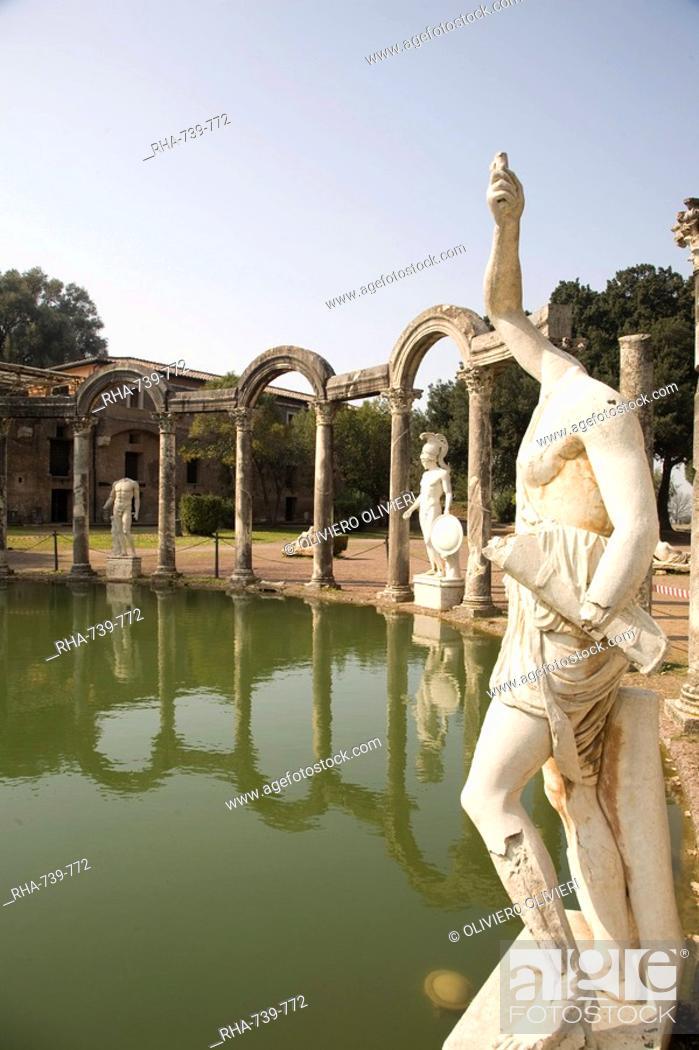 Stock Photo: The pool, Canopo, Hadrian's Villa, UNESCO World Heritage Site, Tivoli, near Rome, Lazio, Italy, Europe.
