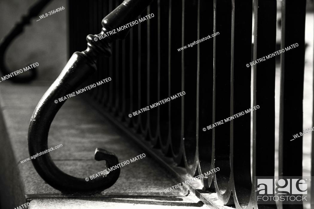 Stock Photo: Railing detail of Retiro park in the center of Madrid in black and white, Spain.