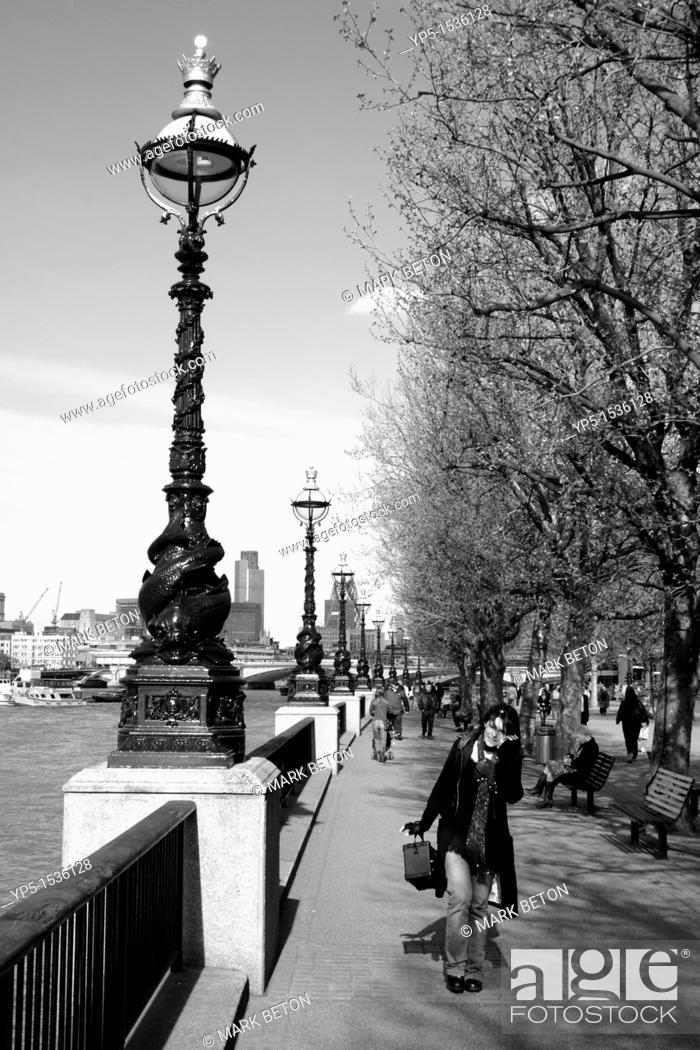 Stock Photo: South Bank promenade London.