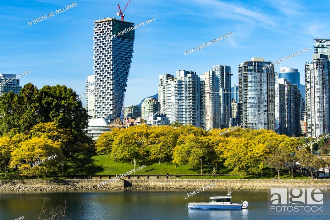 Stock Photo: Vancouver House, from Alder Bay, with Granville Island in foreground, Vancouver, BC, Canada.